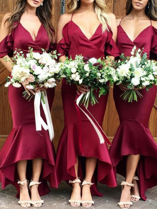 Ericdress Asymmetry Spaghetti Straps Ruffles Mermaid Bridesmaid Dress