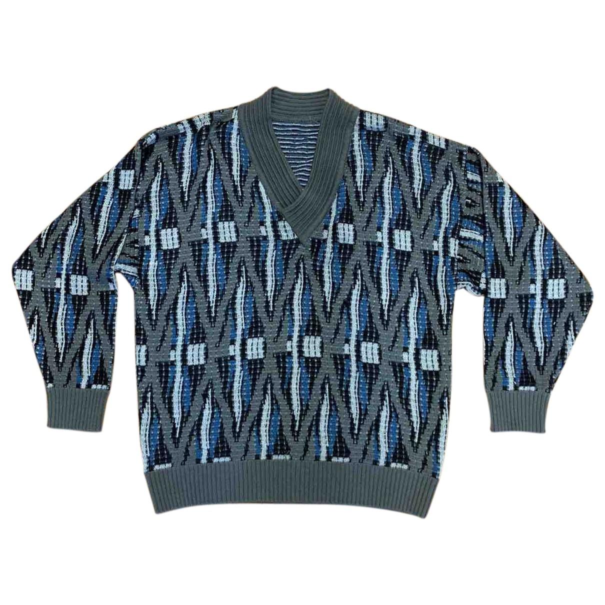 Non Signé / Unsigned Hippie Chic Blue Wool Knitwear & Sweatshirts for Men XL International