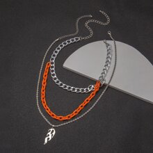 2pcs Guys Flame Pendant Chain Necklace