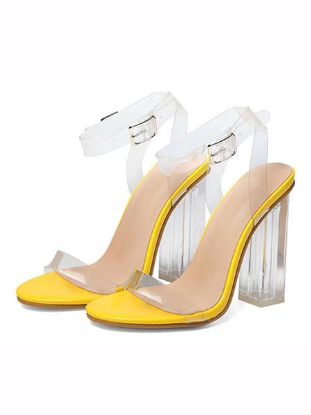 Milanoo Sandalias de tacon alto Sandalias transparentes con correa de tobillo de punta abierta para mujer