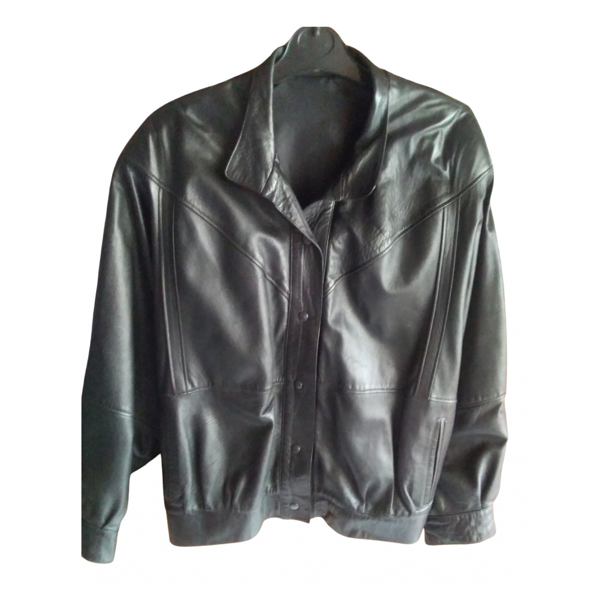 Non Signé / Unsigned Oversize Black Leather jacket  for Men XL International