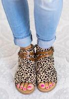 Leopard Printed Zipper Peep Toe Flat Sandals