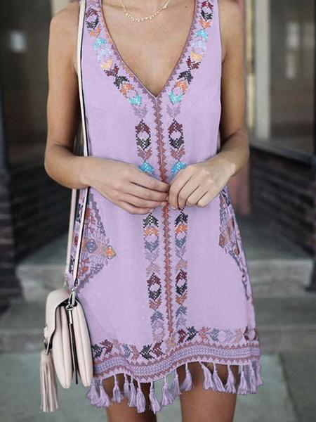Milanoo Summer Dresses V-Neck White Tassel Polyester Short Sundress