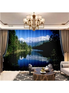 3D Air Permeable Decorative Sheer Curtains with Gorgeous Landscape View