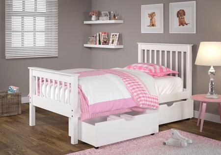 119-TW_505-W Twin Monaco Mission Bed And Dual Under Bed Storage Drawers in White