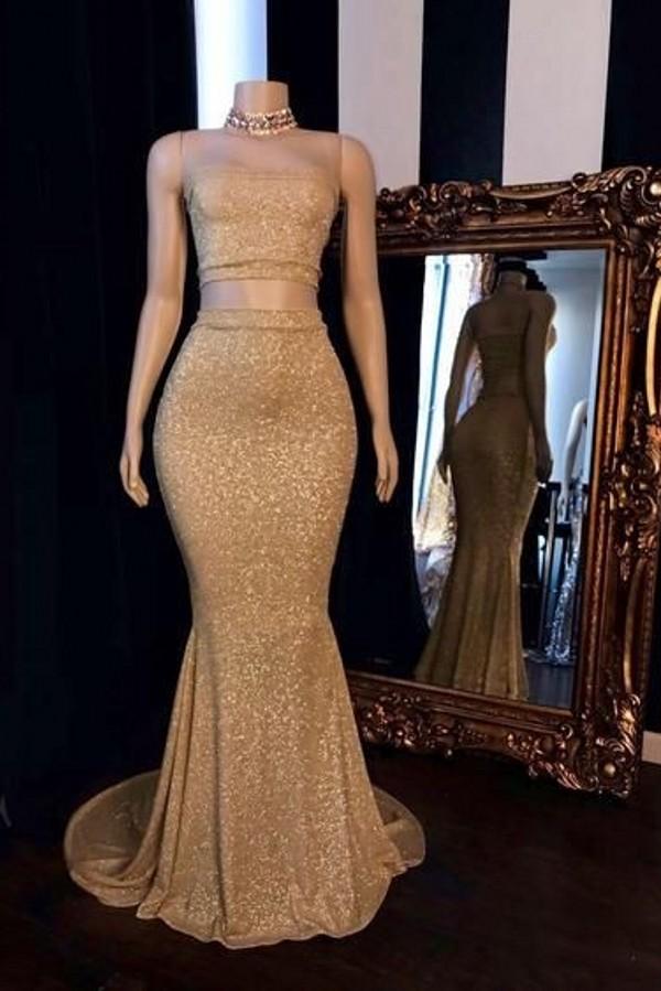 Champagne deux pieces bretelles longues robes de bal sirene avec tour de cou