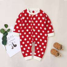 Baby Girl Polka Dot Button Front Knit Jumpsuit