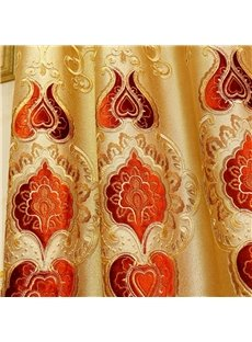 Noble and Elegant Thick Chenille Embroidered Golden and Red Flowers Grommet Top Curtain
