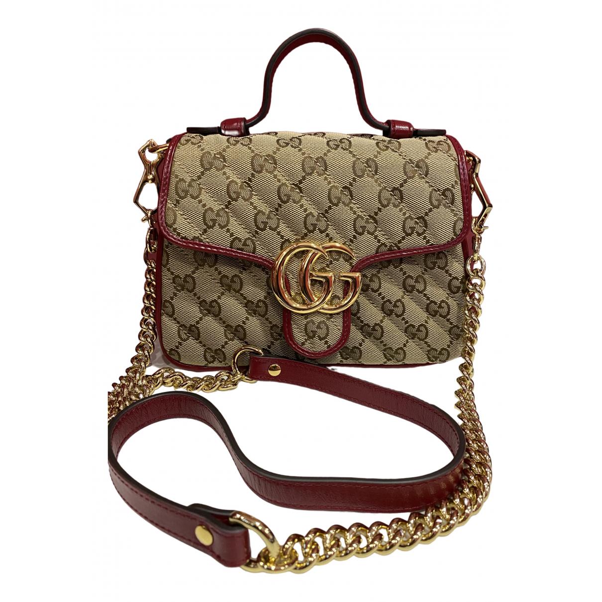 Gucci Marmont Handtasche in  Beige Leinen