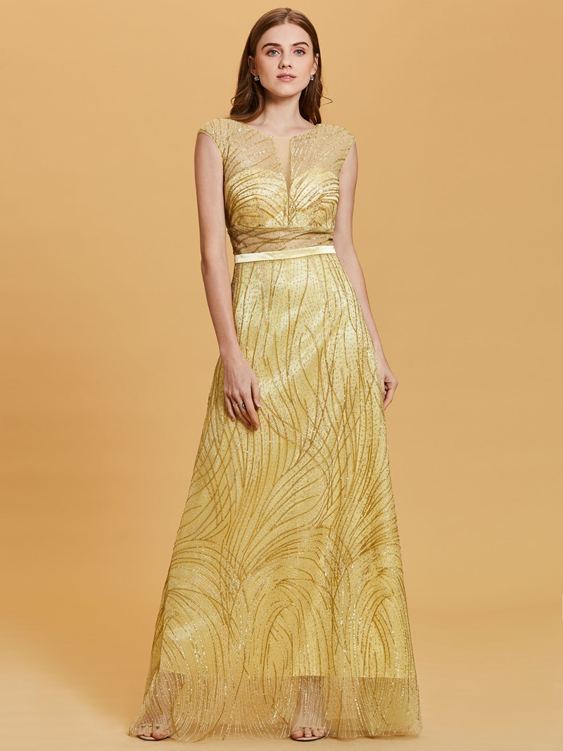 Ericdress Scoop Neck Backless Gilding A Line Evening Dress