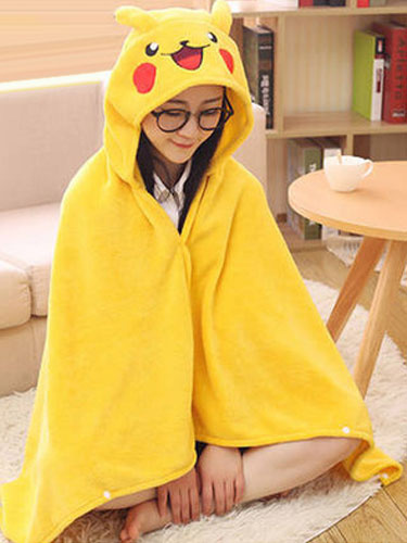 Milanoo Adult Onesie Pajamas Kigurumi Pikachu Costume Yellow Snuggies Flannel Poncho Cape Blanket Halloween