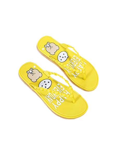 Milanoo Sandalias Zapatillas Chanclas Ecru Blancas Estampado Sandalia Diapositivas Zapatos de mujer