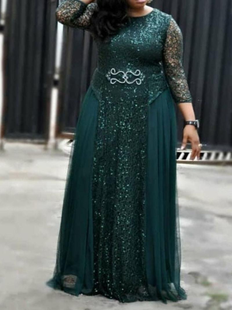 Ericdress Plus Size Sequins Three-Quarter Sleeve Round Neck A-Line Plain Ladylike Dress