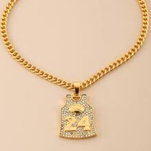 Guys Rhinestone Engraved Necklace