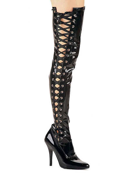 Milanoo Women Sexy Boots Pointed Toe Zipper Sequins Stiletto Heel Rave Club Black Silver Over The Knee Boots