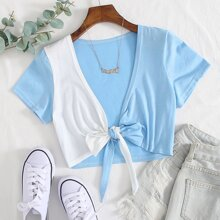 Two Tone Tie Front Top