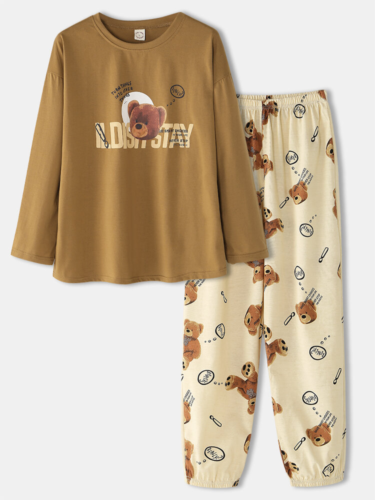 Women Cute Bear Letter Print Loose O-Neck Two-Piece Sleepwear Home Causal Pajamas Set