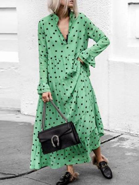 Milanoo Vestido largo verde  con estampado de lunares con manga larga de algodon de talla muy grande con volante fruncido con escote Ilusion
