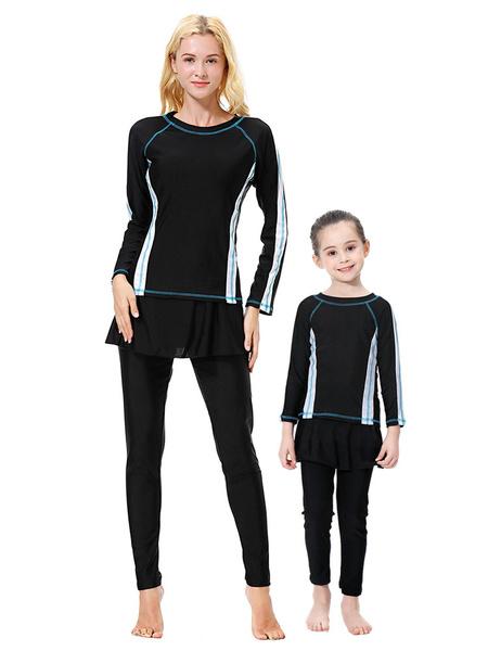 Milanoo Women Burkini Swimsuit 3 Piece Color Block Muslim Beach Bathing Suit