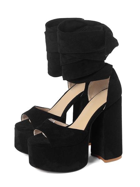 Milanoo Platform High Heel Sandals Womens Lace Up Peep Toe Chunky Heel Sandals
