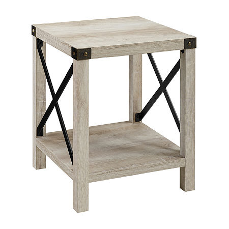 Farmhouse Rustic Wood Square Side Table, One Size , White