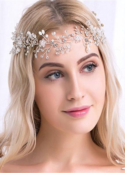 Milanoo Gold Wedding Headpiece Alloy Rhinestone Pearls Bridal Headband