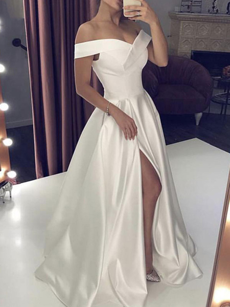 Milanoo Simple Wedding Dress Satin Fabric Off The Shoulder Sleeveless Split Front A Line Bridal Dresses With Train
