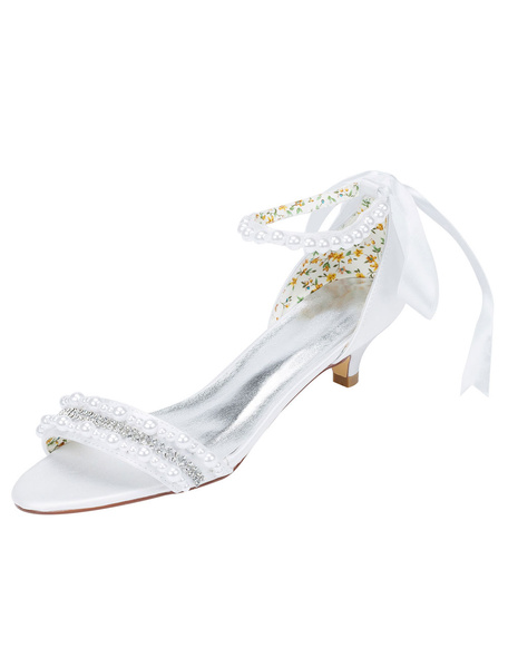 Milanoo White Wedding Shoes Kitten Heel Sandals Pearl Rhinestone Ankle Strap Bridal Shoes With Ribbon Bow