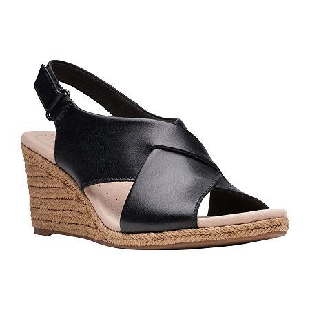 Clarks Womens Lafley Alaine Wedge Sandals, 9 1/2 Wide, Black