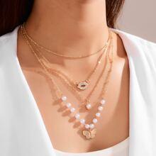 Collar a capas con diseño de mariposa con perla artificial