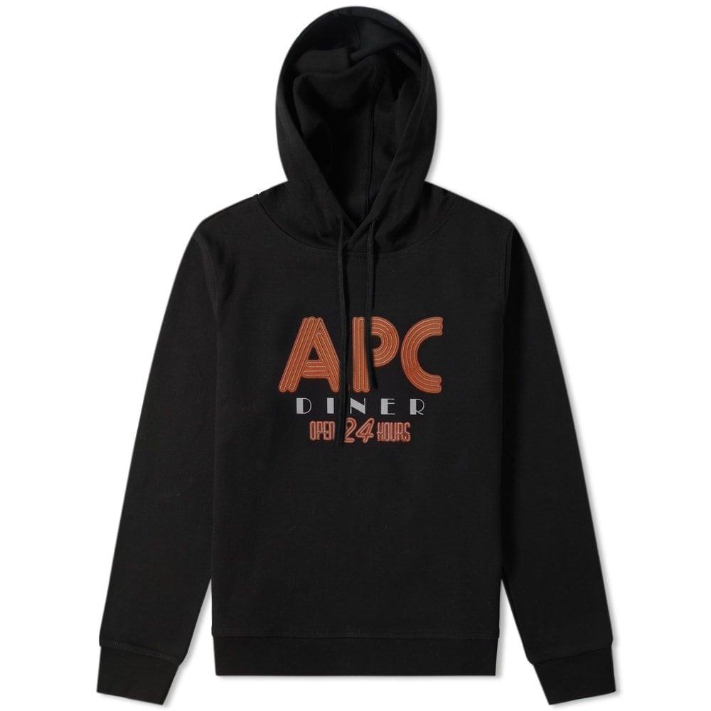 A.P.C Diner Graphic Print Hoodie Colour: BLACK, Size: LARGE