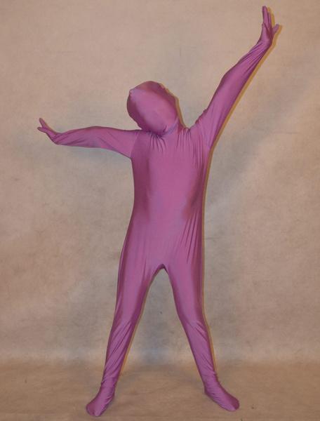 Milanoo Halloween Purple Unisex Lycra Spandex Unicolor Zentai Suits For Kids Halloween