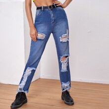 Raw Hem Ripped Jeans Without Belt