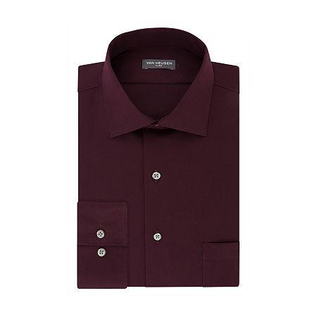 Van Heusen Flex Collar Stretch Long Sleeve Twill Dress Shirt, 15.5 34-35, Red