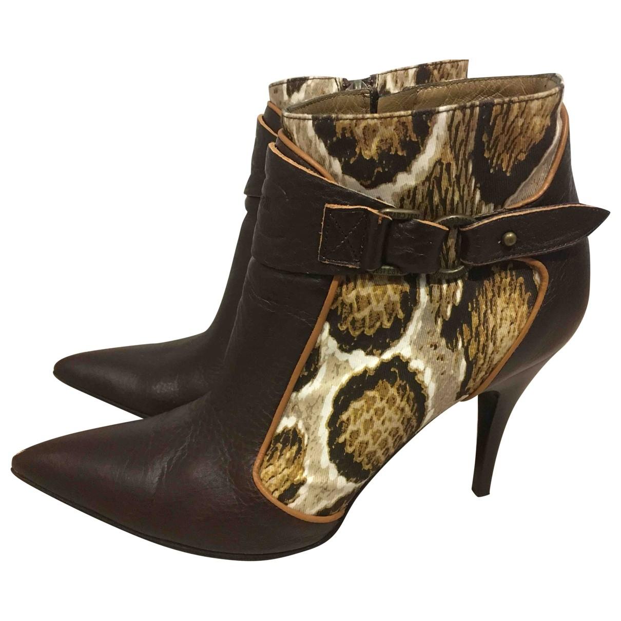 Just Cavalli - Boots   pour femme en cuir - marron