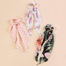 3pcs Girls Floral Pattern Scrunchie Scarf