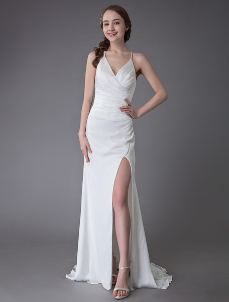 Milanoo Beach Wedding Dresses Sexy Bridal Dress High Split Ivory Sheath Straps Summer Wedding Gowns