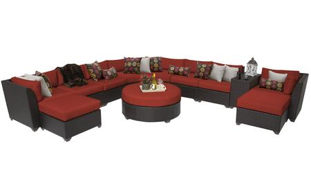Barbados BARBADOS-11c-TERRACOTTA 11-Piece Wicker Patio Set 11c with 1 Curved Armless Sofa  2 Corner Chairs  4 Armless Chairs  2 Ottomans  1 Cup Table