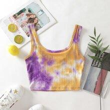 Tie Dye Rib-Knit Crop Tank Top