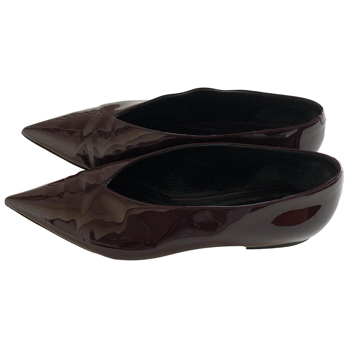 Celine N Burgundy Patent leather Flats for Women 38 EU