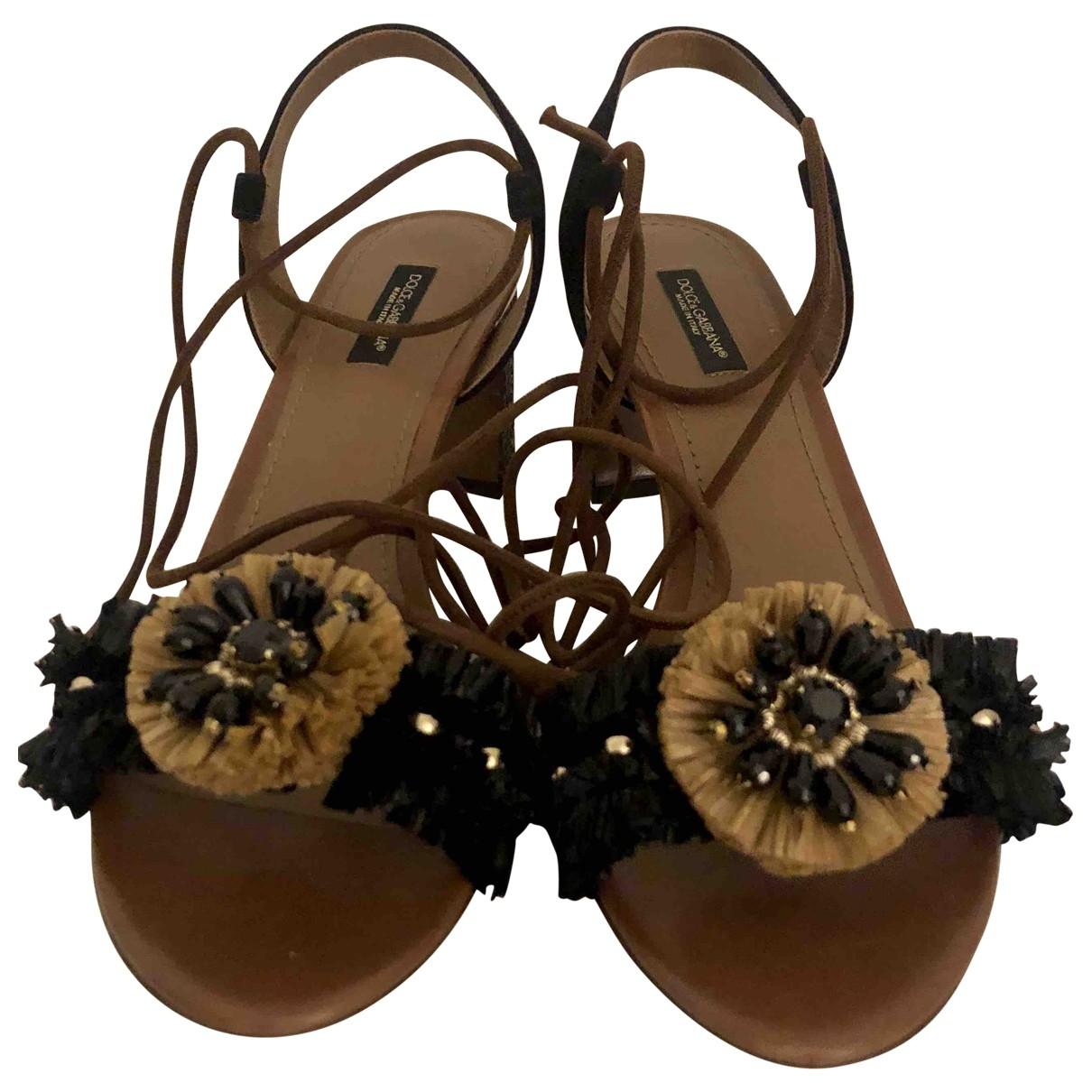 Dolce & Gabbana - Sandales   pour femme en suede - noir