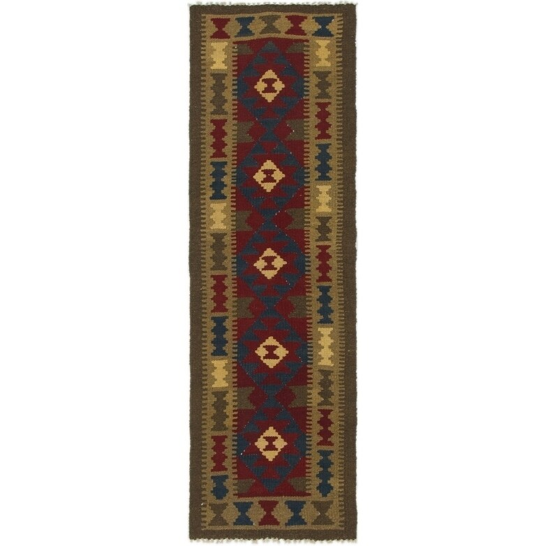 Hand Woven Kilim Maymana Wool Runner Rug - 2' x 6' 3 (Light brown - 2' x 6' 3)