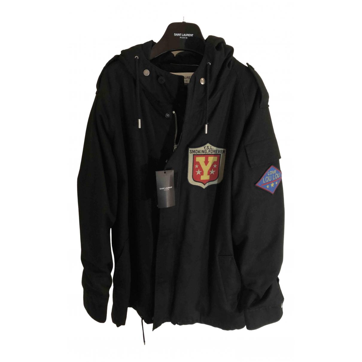Saint Laurent - Manteau   pour homme en coton - noir