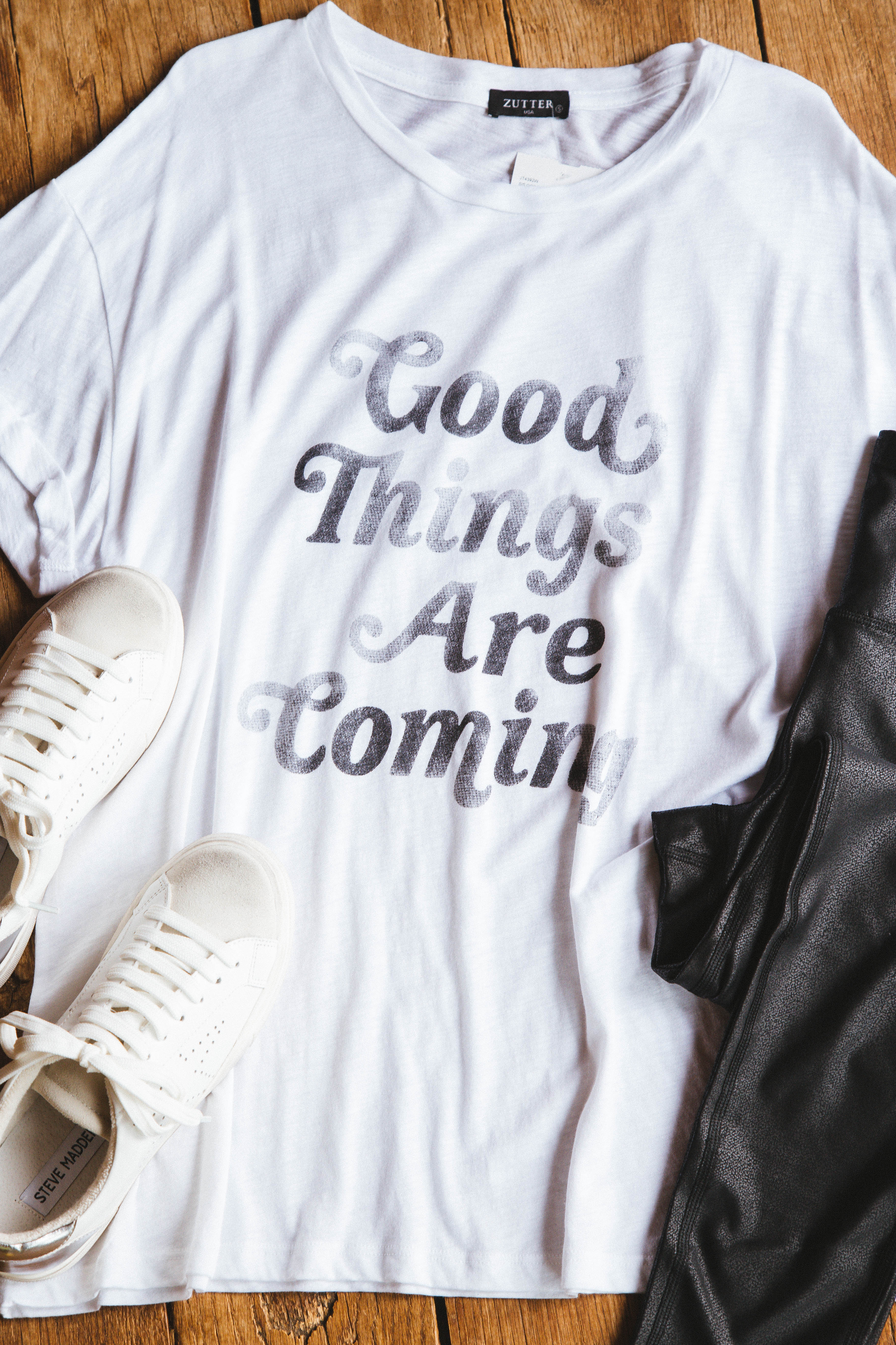 Good Things Are Coming Graphic Tee White