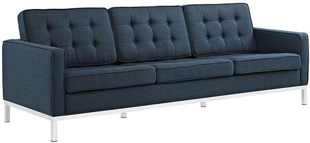 Loft Collection EEI-2052-AZU 91 Sofa with Tufted Buttons  Removable Zippered Cushion Cover  Tubular Stainless Steel Frame and Polyester Fabric