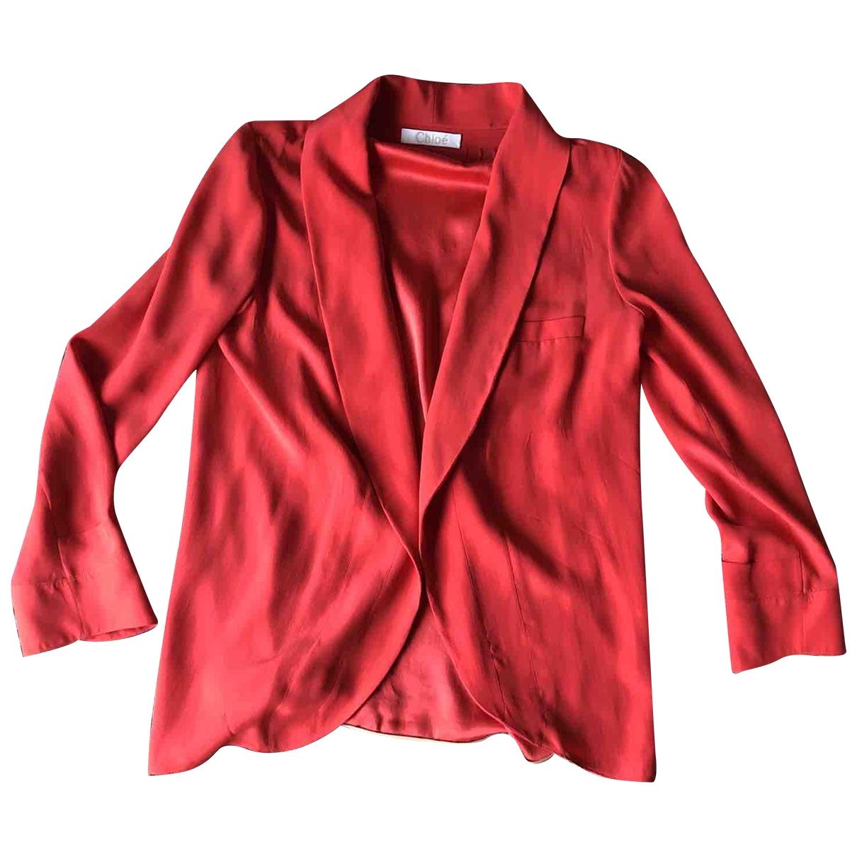 Chloe - Veste   pour femme en soie - rouge