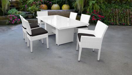 Miami Collection MIAMI-DTREC-KIT-4ADC2DCC-BLACK Patio Dining Set With 1 Table  4 Side Chairs  2 Arm Chairs - Sail White and Black