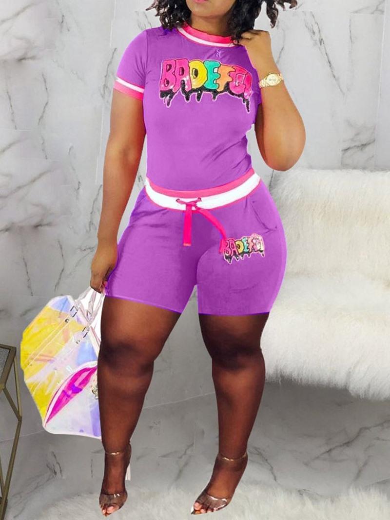 Ericdress Letter Print Color Block Women's Suit T-Shirt And Shorts Two Piece Sets