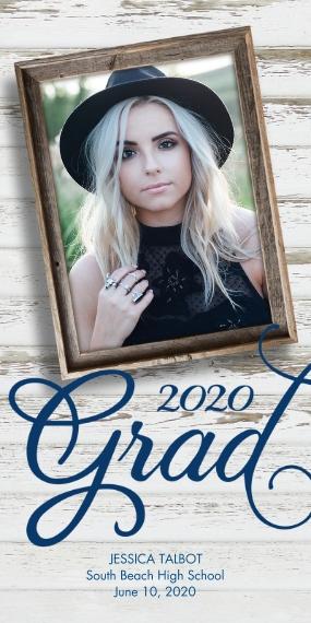 2020 Graduation Announcements 4x8 Flat Card Set, 85lb, Card & Stationery -Rustic Photo Frame 2020 Grad Announcement by Hallmark