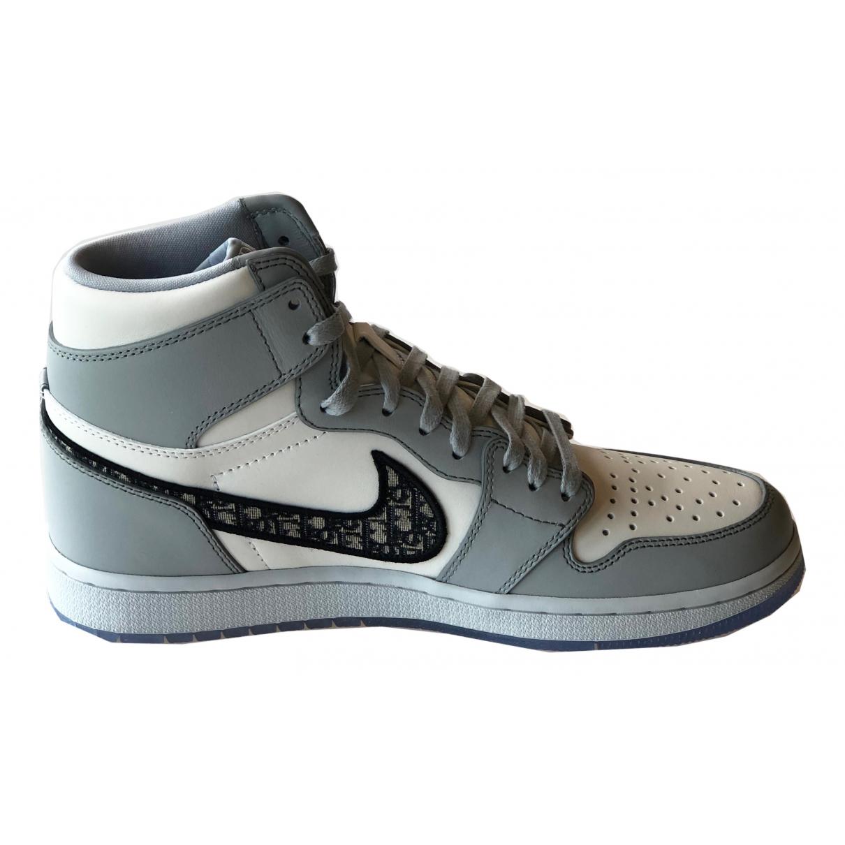 Jordan X Dior \N Grey Leather Trainers for Men 42 EU